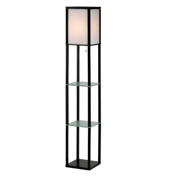 Adesso berk glass shelves floor lamp l brilliant source for Floor lamp with shelves