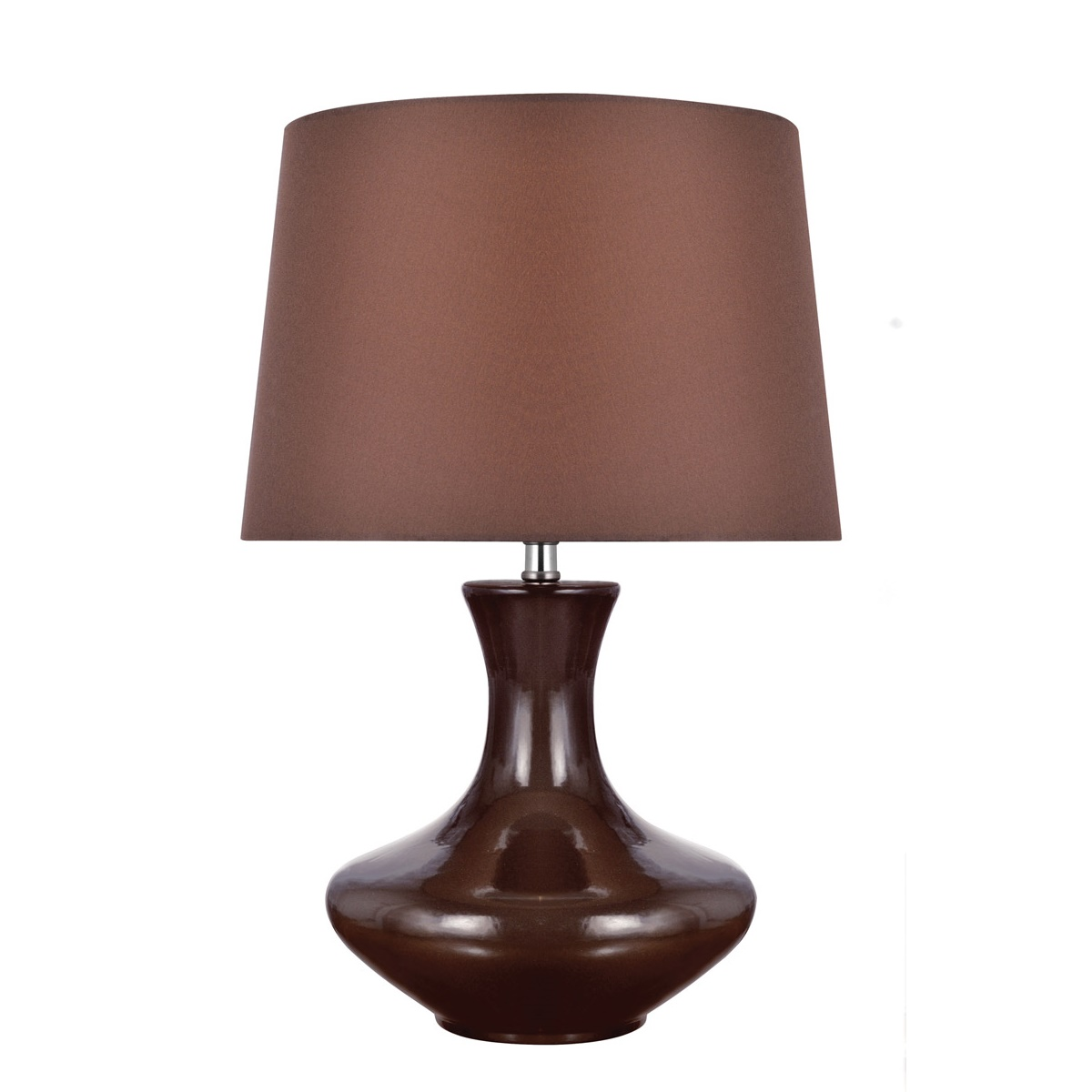 Lite Source Nessia 1 Light Table Lamp In Coffee Ceramic With Coffee Fabric L Brilliant Source