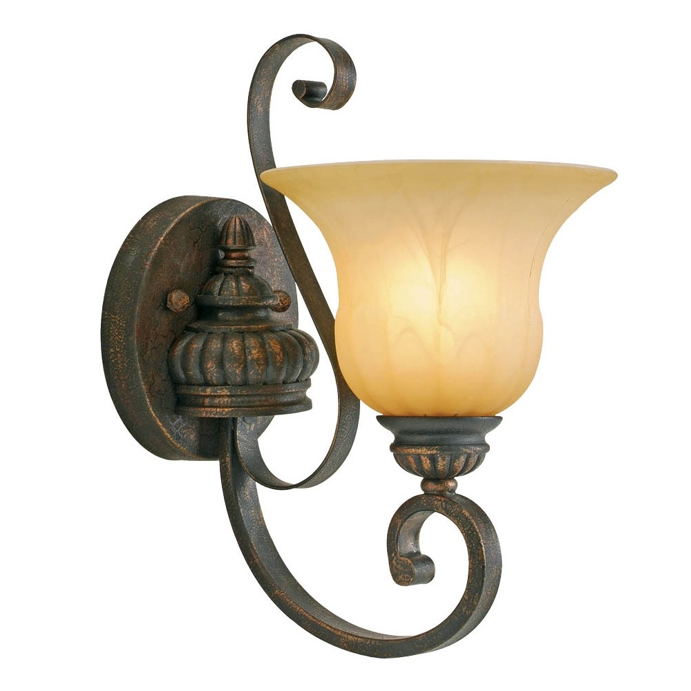 Golden Wall Lamps : Golden Lighting Mayfair 1 Light Wall Sconce In Leather Crackle l Brilliant Source Lighting