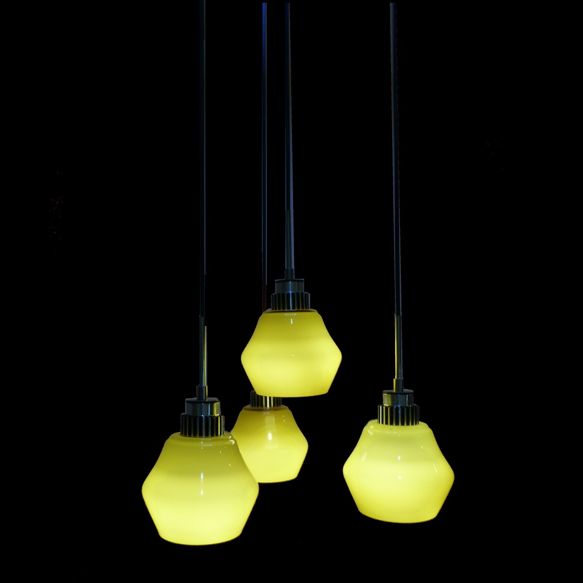 4 light led hanging pendant lamp in olive green l