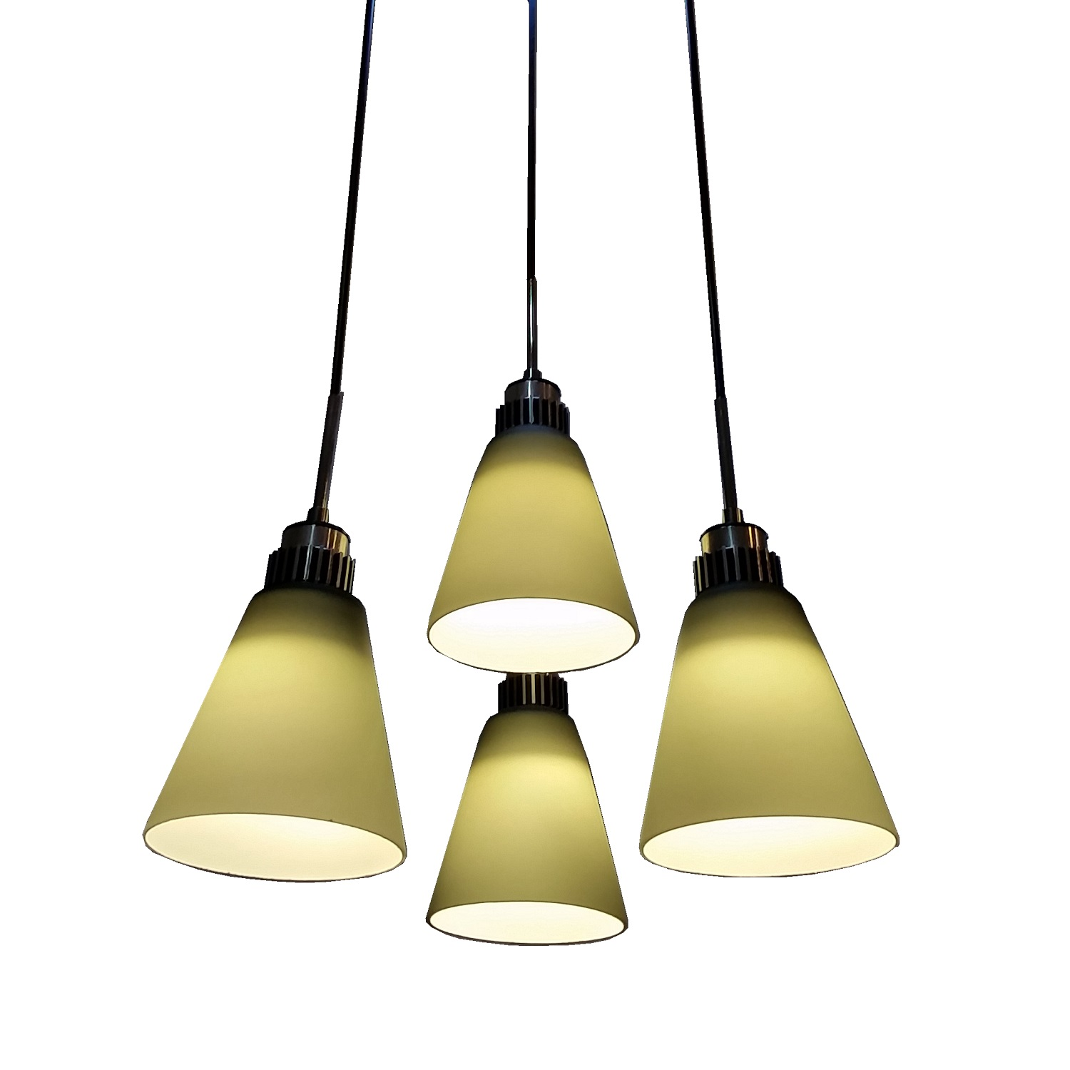 4 Light Led Hanging Pendant Lamp In Dark Green L Brilliant