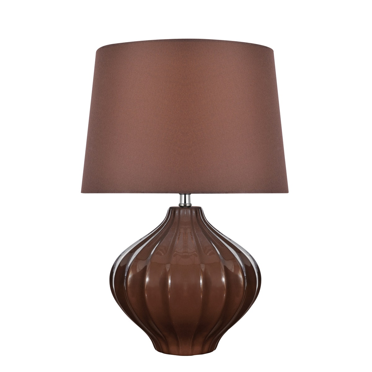 Lite Source Gordana 1 Light Table Lamp In Coffee Ceramic With Coffee Fabric L Brilliant Source