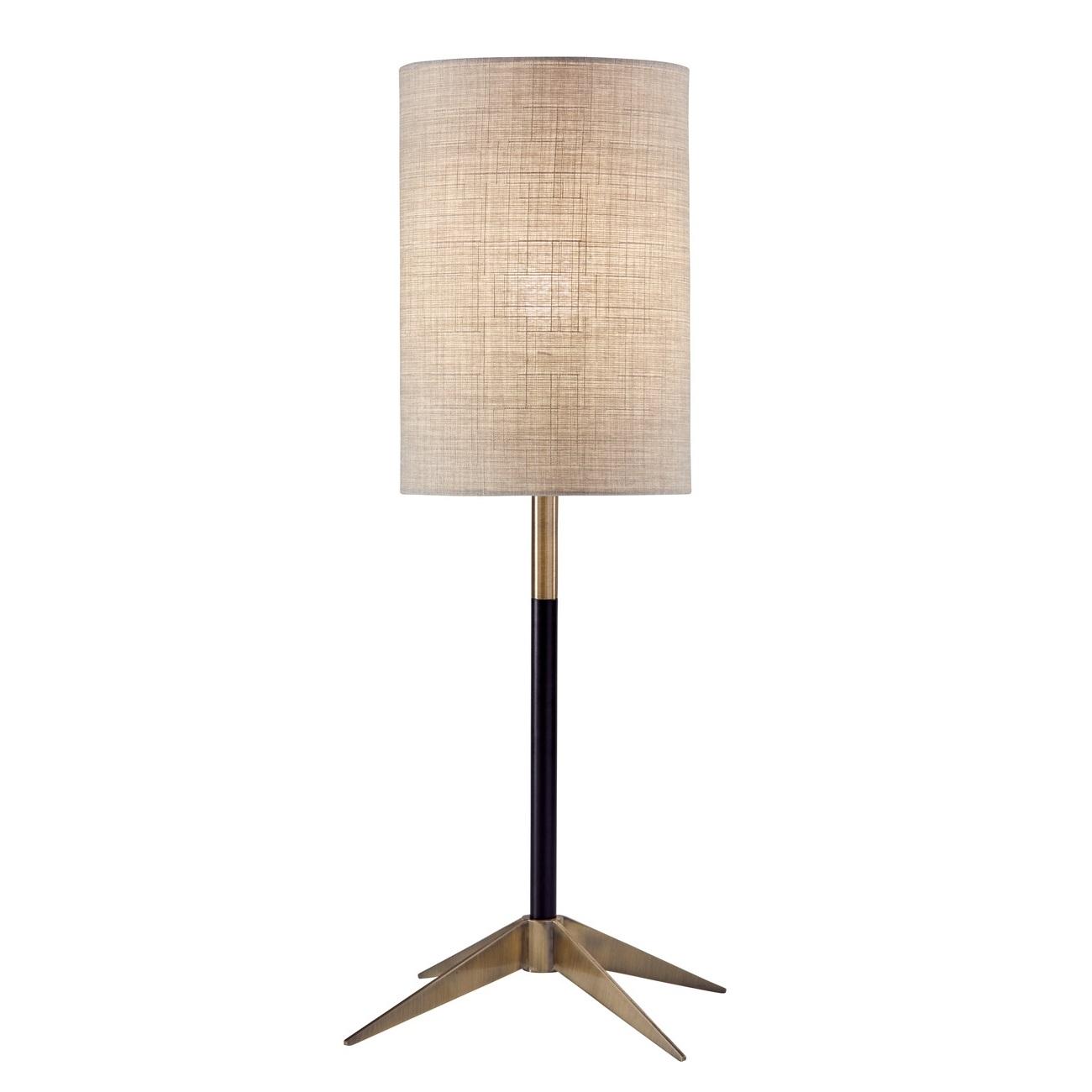 Adesso Davis Matte Black Antique Brass Table Lamp L