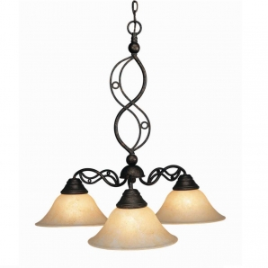 Toltec Lighting Jazz 3 Light Chandelier with Marble Glass Shade In Bronze
