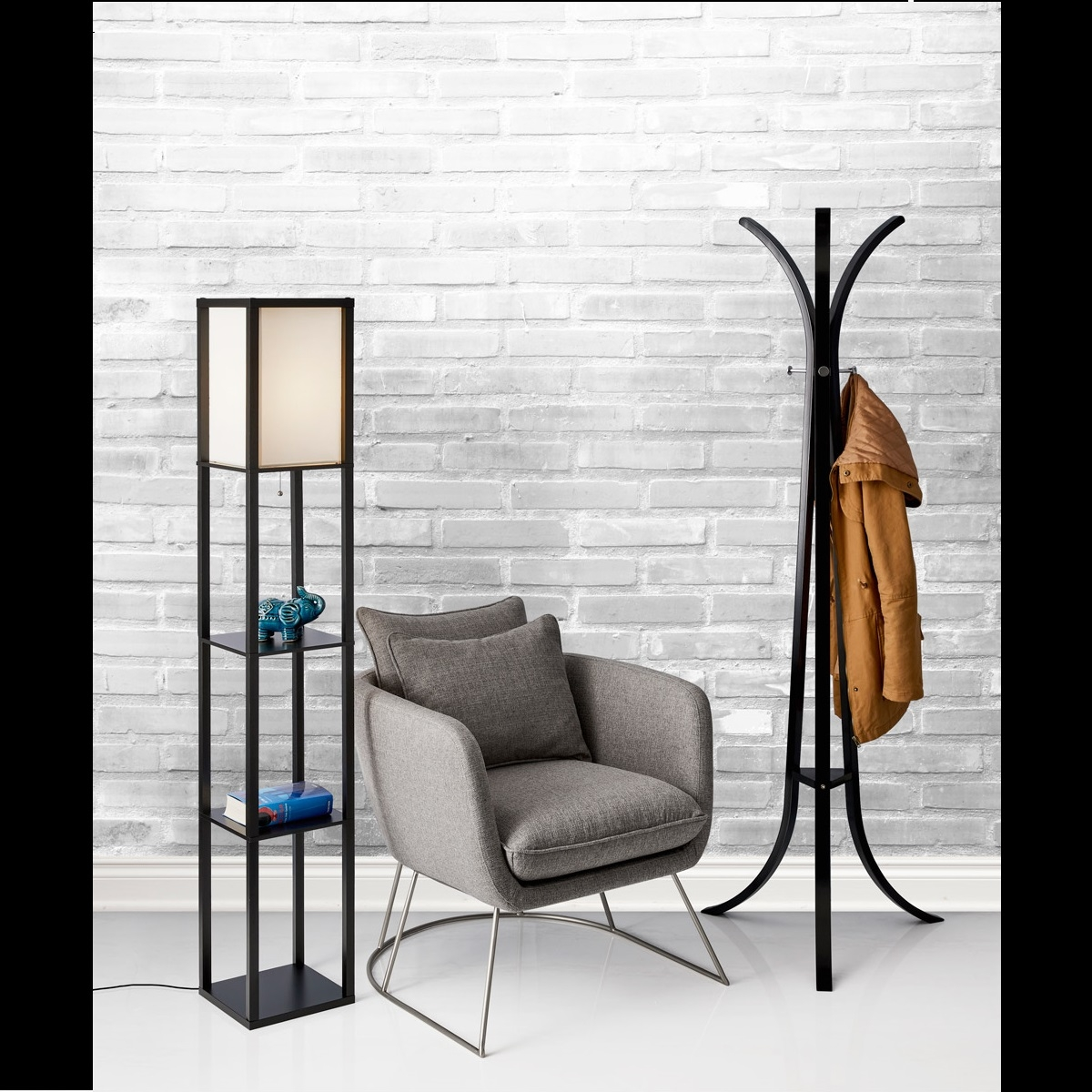 Adesso Wright Real Wood Tall Floor Lamp Black L Brilliant Source Lighting