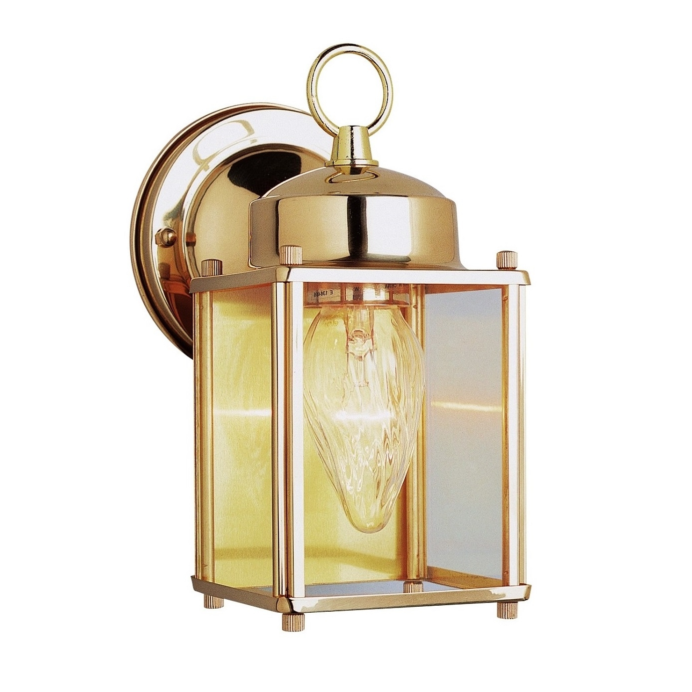 Transglobe lighting outdoor 1 light wall lantern in for Brass outdoor lighting