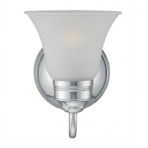 Sea Gull Lighting Gladstone 1 Light Vanity Wall Sconce with Etched Glass  In Chrome