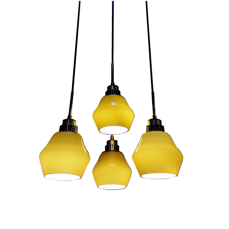 4 Light LED Hanging Pendant Lamp In Olive Green L