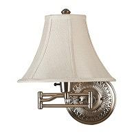 Kenroy Home Amherst 1 Light Swing Arm Wall Lamp in Bronzed Brass