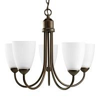 Progress Lighting Gather 5 Light Chandelier in Antique Bronze